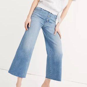 Madewell Wide Leg Crop Jeans Denim Button Front